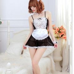 French Maid Lingerie, French Maid Dress, Maid Cosplay, Cosplay Dress, Costume Dress, Little Dresses, Sexy Dresses, Babydoll Nightwear, Maid Outfit