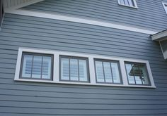 Dusky blue siding with soft white trim + dark sashes Blue Siding, Exterior House Siding, Bungalow Exterior, Exterior House Colors, Exterior Paint, Sash Windows, Craftsman Style, Home Look, Room Colors