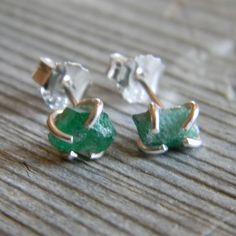 Rustic Prong Set Raw Emerald Stud Earrings in Sterling by DearAnge, $43.00