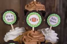 Football Cupcake Toppers Baby Shower - Brown & Green