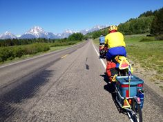 Adventure Cycling TransAm tour bikes through the Tetons!