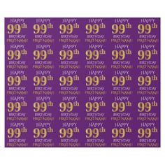 "Purple Faux Gold ""HAPPY 99th BIRTHDAY"" Wrapping Paper - simple clear clean design style unique diy"