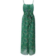 Green Ink Of The Circle Embellishment Floral Chiffon Piece Pants ($19) ❤ liked on Polyvore featuring banggood and dresses