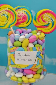 Pastel Jordan Almonds at an Oh the Places You'll Go, Dr. Seuss birthday party! See more party ideas at CatchMyParty.com!