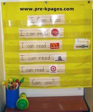 environmental print pocket chart to build confidence and COW- count the words in the sentence Kindergarten Literacy Stations, Kindergarten Anchor Charts, Preschool Literacy, Teaching Kindergarten, Concepts Of Print, Preschool Sight Words, Environmental Print, Pre K Pages, School Themes