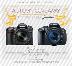 SewTamz: Nikon D7000 or Canon Rebel T5i or Amazon Gift Card Giveaway