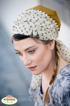 Acid yellow headscarf with patterned accent scarf
