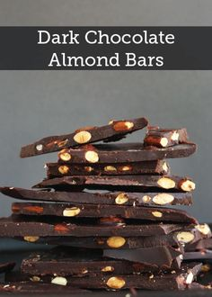 Dark Chocolate Almond Bars ~ easy, bars made from scratch and topped with toasted almonds and sea salt.refined sugar free, vegan and gluten-free. Dark Chocolate Almonds, Healthy Chocolate, Chocolate Brownies, Chocolate Recipes, Chocolate Chocolate, Chocolate Smoothies, Chocolate Shakeology, Chocolate Mouse, Chocolate Crinkles
