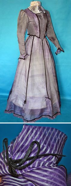 Nearly finished 1800s dress. Amethyst purple & white pinstripe pattern with jet black velvet ribbon trim. Vintage Clothing/Collectors Weekly