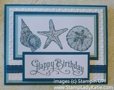 Card made with Stampin'UP! stamp set: By the Seashore, and Iridescent Ice Embossing Powder