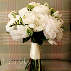White Wedding Bouquet, pretty to add the white anemones with black centers
