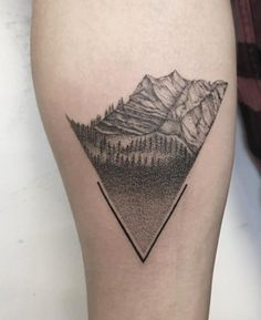 Dotwork mountains by Zeke Yip