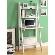 Furniture : Agreeable Ladder Bookshelf Design Come With White 61H Ladder Bookcase With A Drop Down Desk And Clean Lines In A Bold White Finish Together 4 Tier On Green Painted Wall Along With Round White Basket - 19 Ladder Bookshelf for your Inspirations