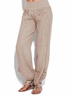 Solid Color Button Elastic Waist Loose Plus Size Pants , Travel Clothes Women, Clothes For Women, Yoga Harem Pants, Lightin The Box, Plus Size Pants, Workout Pants, Fashion Pants, Wide Leg Pants, Casual Pants