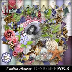 Endless Summer is inspired by and celebrates the warm summer days filled with a great book, walking the beach & picking up shells, being with friends & family & the joy of being surrounded by love, and all the delightful & beautiful found things we love to collect. It sports a breezy palette of pinks, lavender, purple, brown, soft yellow & spunky green.