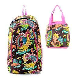 Crocodile Print Zipper Backpack W Matching Lunch Bag - Handbags, Bling & More!