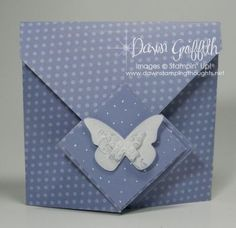 """Fancy Fold Card/Album with Video    In Color 2011-2013  Designer paper (Wisteria Wonder ) #122384  cut at 11"""" x 11""""  Wisteria Wonder Card stock #124328*  ( *Assorted Pack of In color 12""""x 12"""" )  cut at  4"""" x 12""""  cut at  2"""" x 2""""    Simply Scored #122334"""