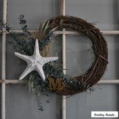 Seaside Wreath with Starfish, Gold Monogram and Eucalyptus - DIY Instructions by According to Amanda