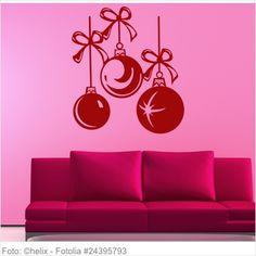 Wandtattoo Weihnachten - Schnüre mit Christbaumkugeln