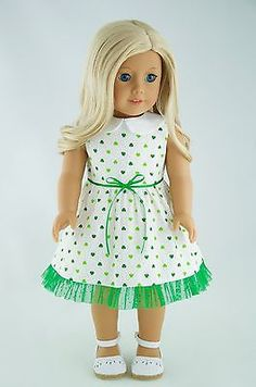 St-Patrick-Dress-with-Green-Clover-American-Made-Doll-Clothes-For-18-Inch-Girl
