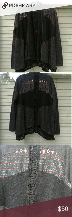 """Miss Me cardigan Womans size Large. Heather gray, black henly panels, aztec print details. Lacy layer inside and sticking out the bottom. Very gorgous cardigan!  Very hard to measure since it asymmetrical. Sleeve is 26"""". If in need of any other measurements please ask! I am 5'4"""" 155 and this fits me perfectly Miss Me Sweaters Cardigans"""