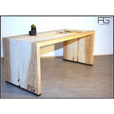 Table basse Fluere artisanal, bois massif bords brut, Live-edge, Frêne-olivier, Acier brut, artisanat d'alsace
