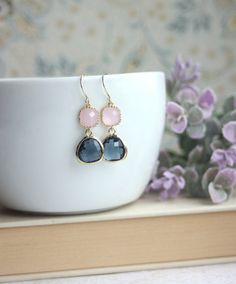 ♥´¨) ¸.•´ ¸.•*´¨) (¸.•´ ♥ ~ These are beautiful and sweet pair of earrings made of gold trimmed sapphire blue color glass drops paired with gold trimmed pink opal square connectors. This makes a lovely gift for your loved one, family, friends, best friends, bridesmaids, maid of honor and