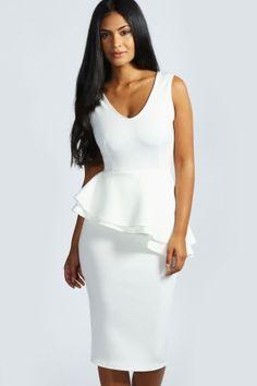 peplum dress midi white - Google Search