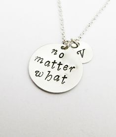 No Matter What Necklace, Personalized Jewelry, Personalized Initial Necklace…