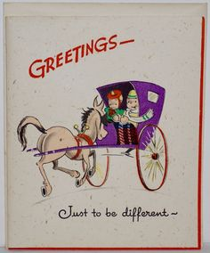 Vintage 40's UNUSED Gibson Linen Greeting Card Backwards Horse Buggy Carriage | eBay Christmas Horses, Horse And Buggy, Greeting Cards, Ebay, Vintage, Vintage Comics