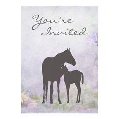 Pretty Mare and Foal Silhouette Baby Shower Invite