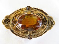 Art Nouveau Brooch, Amber Glass Pin, Filigree Detail, Vintage Jewelry