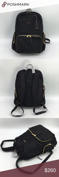 """Tumi Calais Voyageur Backpack Black The best-selling Voyageur collection offers streamlined and sophisticated feminine styling with smart details in lightweight designs.   Practical, pretty and versatile, this backpack is ideal for business, travel and everyday outings. It has a laptop (15"""") pocket and other interior organizer pockets for electronics and personal accessories.   Several exterior pockets for fast-access items.   Made from lightweight nylon with leather trim, it has a leather…"""