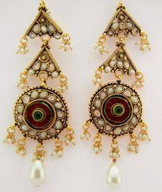 Chandelier Statement Indian design Pearl Drop Earrings £20.00