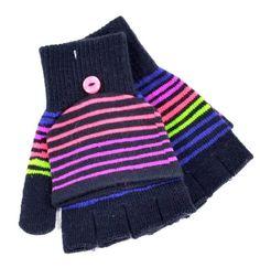 Winter So Mercy Kids Gloves Boys Girl Blacks Purple Fingerless Mittens Duo 1133 #SOMercy #MittensGloves
