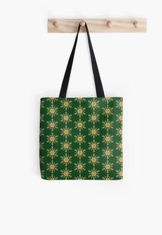 Golden Glitter Sparkle Snowflake on Christmas Holly Green by podartist Dazzling sparkling photo-effect fine gold glitter snowflakes with twelve double forked branches and center star on holly green Green Throw Pillows, Custom Tote Bags, Golden Glitter, Designer Throw Pillows, Pillow Design, Iphone Wallet, Branches, Snowflakes, Reusable Tote Bags