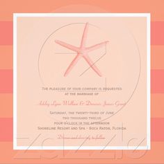"The ""Shoreline Chic"" Wedding Collection of stylish wedding invitations and stationery features tropical colours, illustrations of starfish, seashells, coral and palm trees. Simple and elegant style, perfect for a seaside wedding destination. Colours: Coral Orange / Pink"