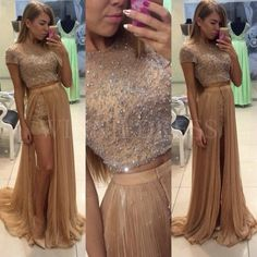 Short Sleeve Beaded Bodice Crop Top Chiffon Skirt Two Piece Prom Dress