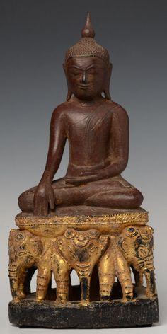 18th C., Burmese Wooden  Buddha Seated on Three Elephants