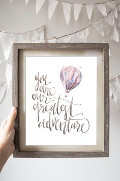 You are Our Greatest Adventure Hot Air Balloon Print in Pink
