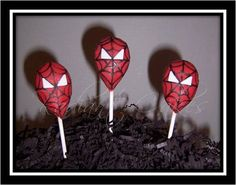 Spiderman Cakepops - Will be awesome for one of the boys b-d parties