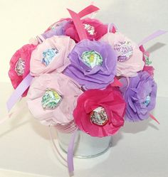 spring summer Tissue Paper Flowers Personalized Party Favor Lollipop Sucker Flower honeysuckle hot pink light pink and purple Princess Baby Shower Party Games, Boy Baby Shower Themes, Baby Boy Shower, Baby Shower Card Sayings, Unisex Baby Shower, Shabby Chic Baby Shower, Personalized Party Favors, Tissue Paper Flowers, Baby Shower Centerpieces