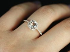 CUSTOM Petite Version 14kt White Gold Thin White Sapphire Cushion Halo Engagement Ring (Reserved for Jeremy M.)