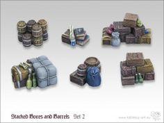 Sechs aufwendig modellierte Kistenstapel aus Resin. http://onlineshop.kohli.de/fantasy-tabletop/bauteile-und-zubehoer/kisten-truhen-und-faesser/3206/kisten-und-faesserstapel-set-2