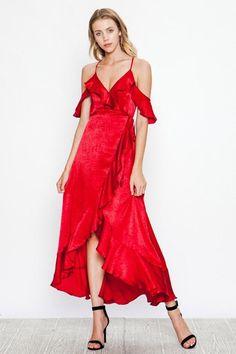 f9eb1aafe9 Flying Tomato Silky Satin Wrap Dress - Dark Red