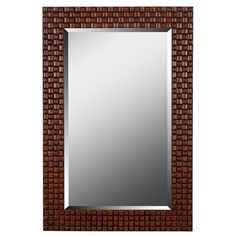 Kenroy Home Interlace 42 in. x 28 in. Light and Dark Brown Framed Wall Mirror-61018 - The Home Depot