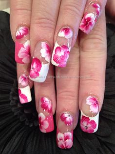 Nail Art Photo Taken at:27/10/2012 16:24:34 Nail Art Photo Uploaded at:27/10/2012 19:08:28 Nail Technician:Elaine Moore Description: Pink and white tips with one stroke freehand nail art @ www.eyecandynails.co.uk