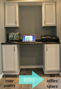 Convert your pantry into office space. It's the perfect size for a small family office.