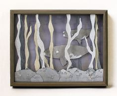 Seaweed Forest printed whale shadow box MADE TO by sadlyharmless, $65.00