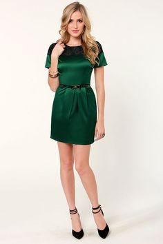 Lovely Satin Green Holiday Dress $40.00